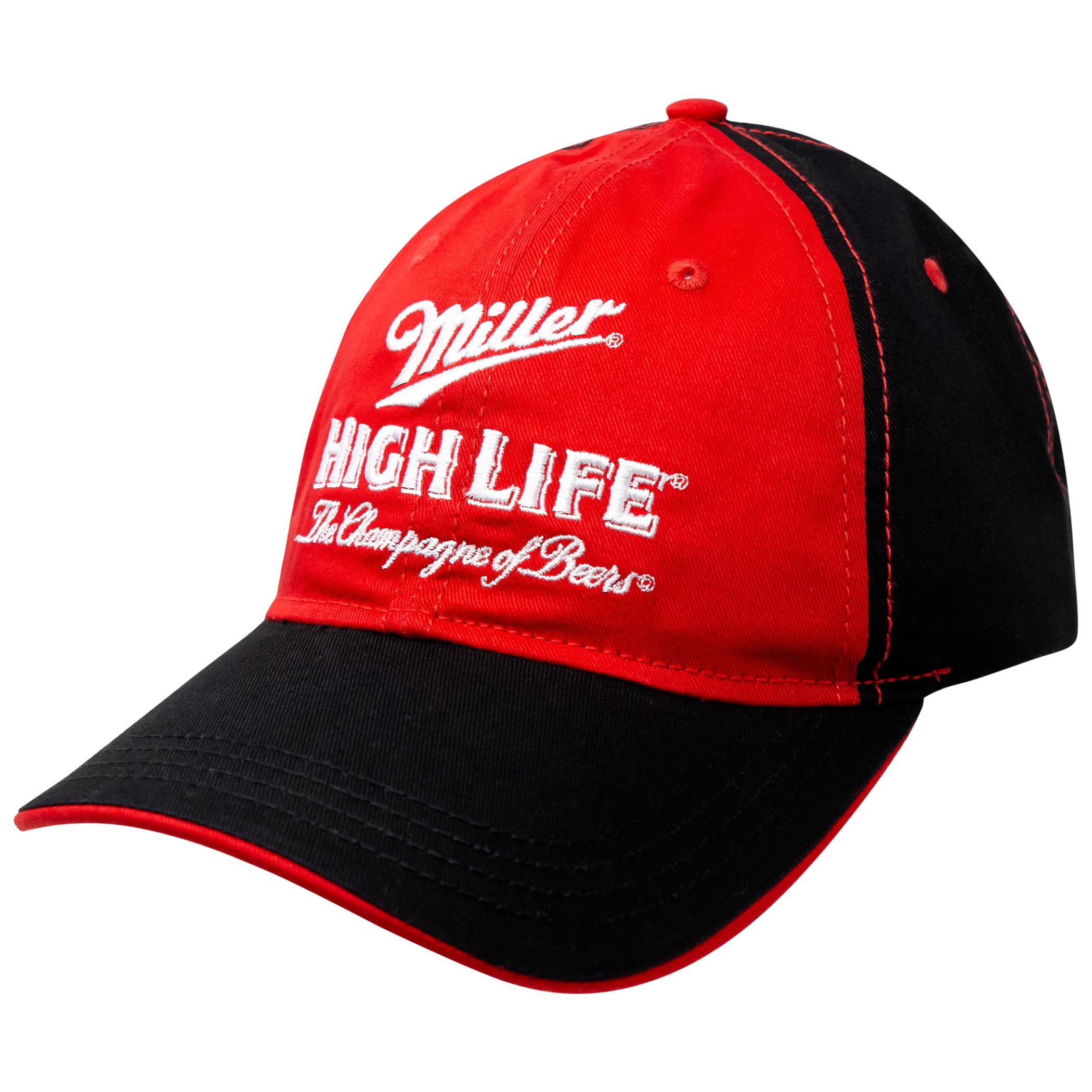 Miller High Life Beer Black And Red Fitted Hat