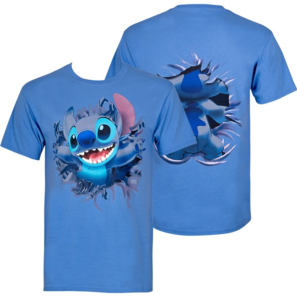 Lilo And Stitch Bursting Through Blue Disney T-Shirt