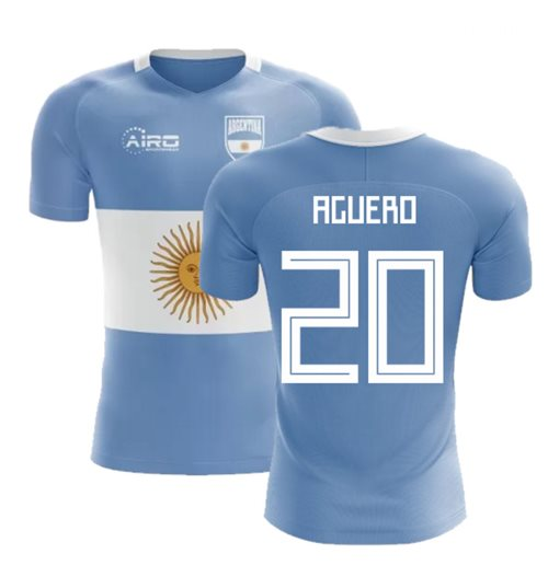 2018-2019 Argentina Flag Concept Football Shirt (Aguero 20) - Kids