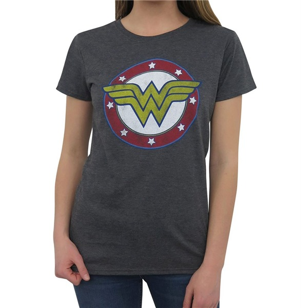 Wonder Woman Symbol  and  Stars T-Shirt for Women