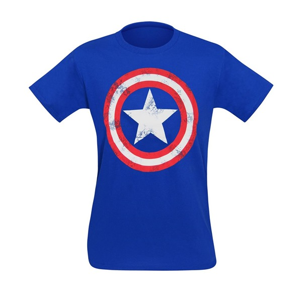 Captain America Distressed Shield Royal Blue T-Shirt