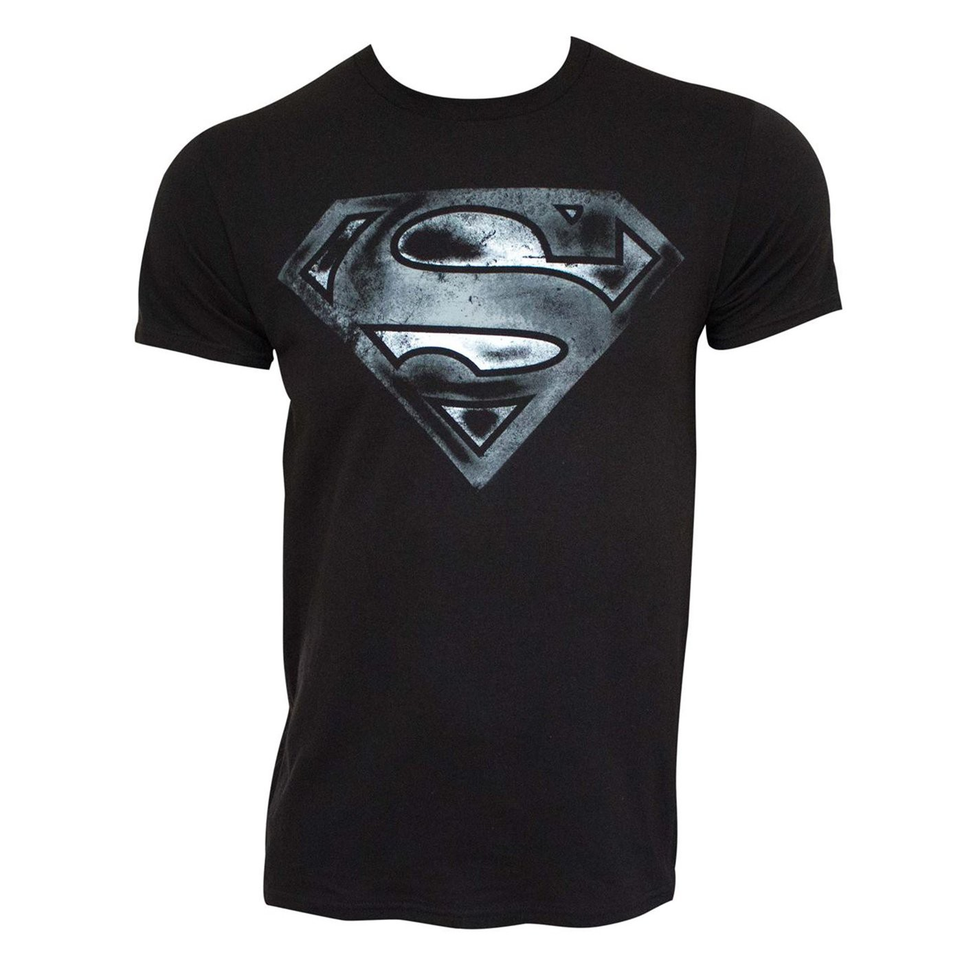 Superman Logo Black  and  White Distress Men's T-Shirt