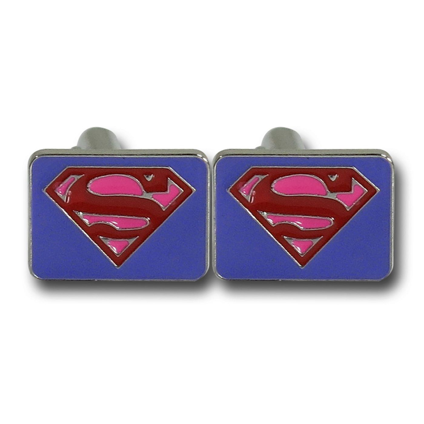 Superman Red  and  Purple Symbol Square Cufflinks
