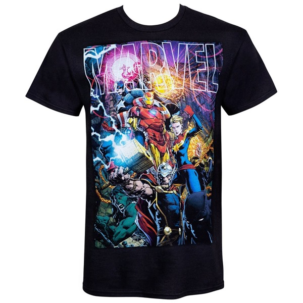 Marvel Logo With Heroes Men's-T-Shirt