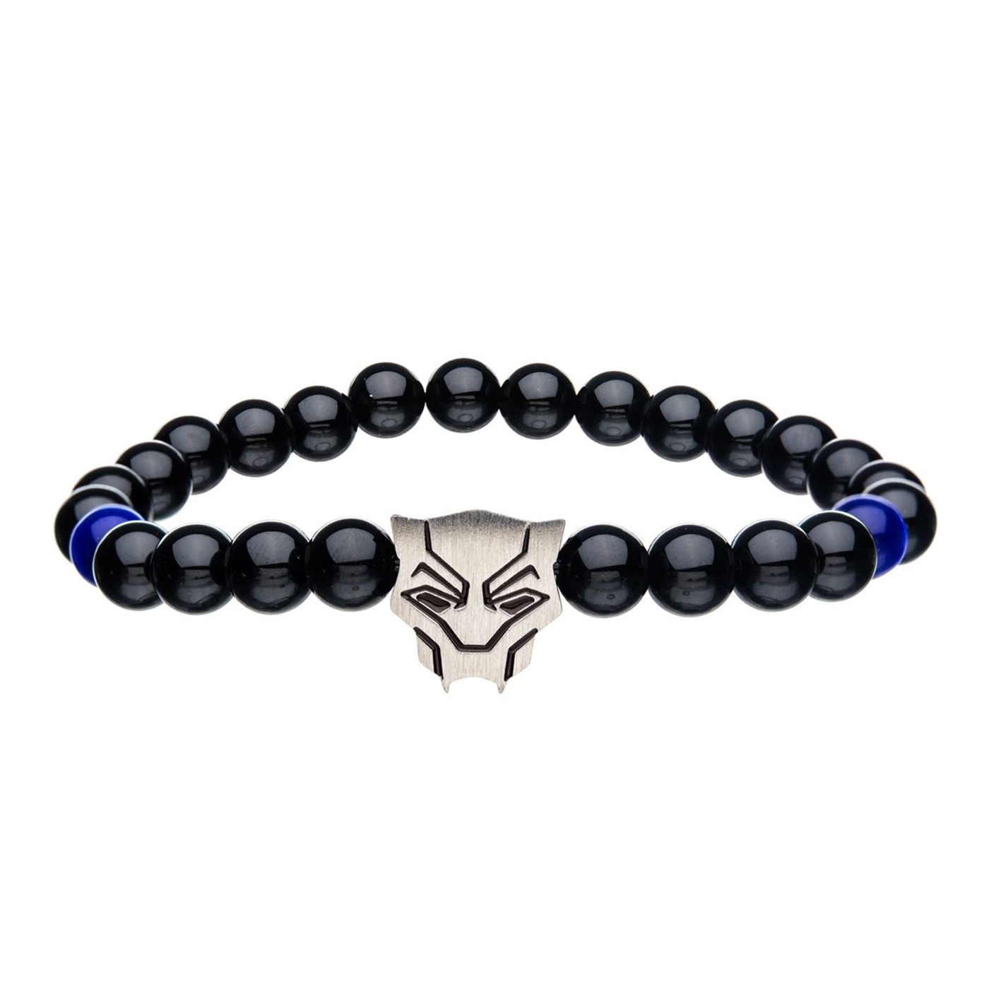 Black Panther Charm w/Natural beads bracelet