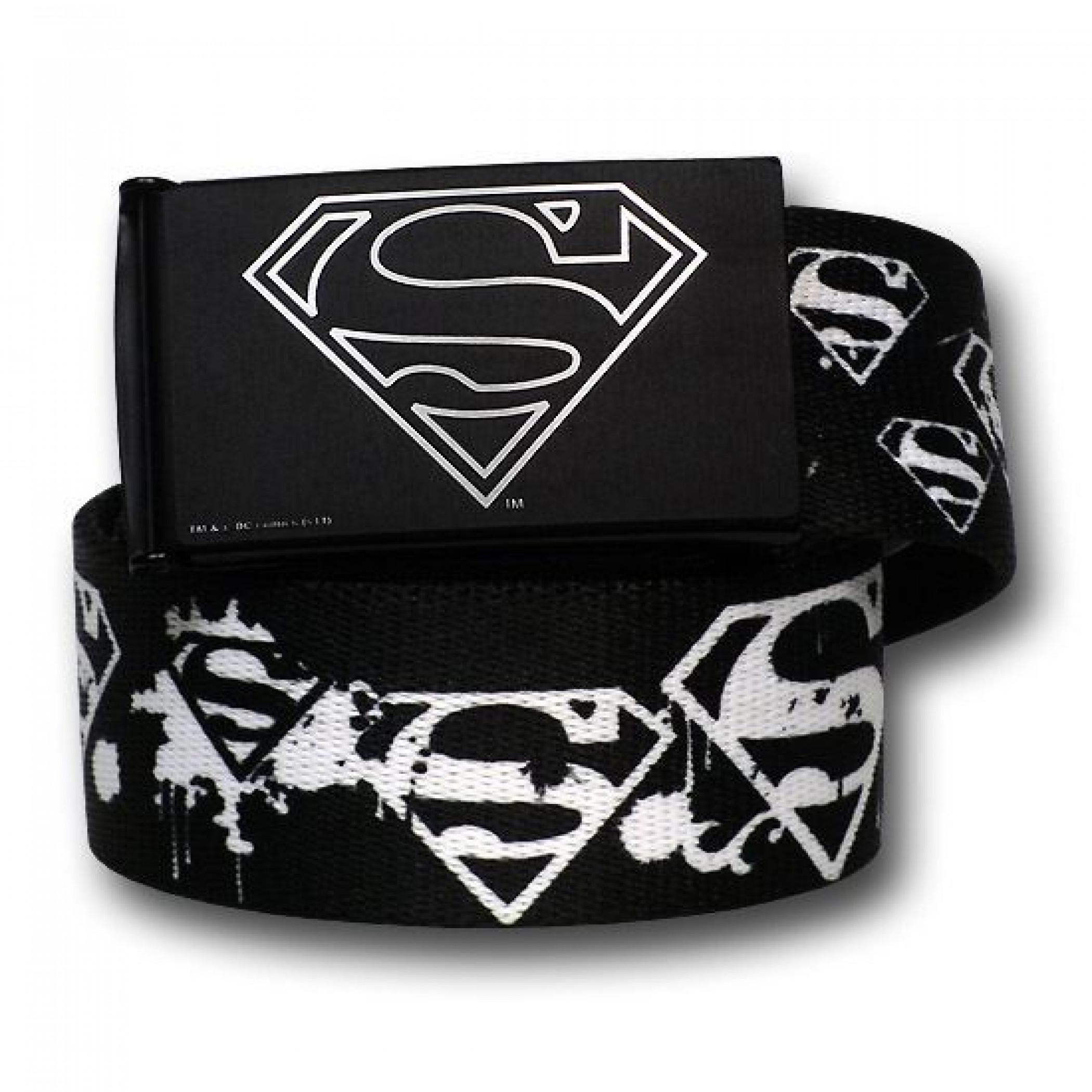 Superman White Spray Painted Web Belt - 1.50 Adult