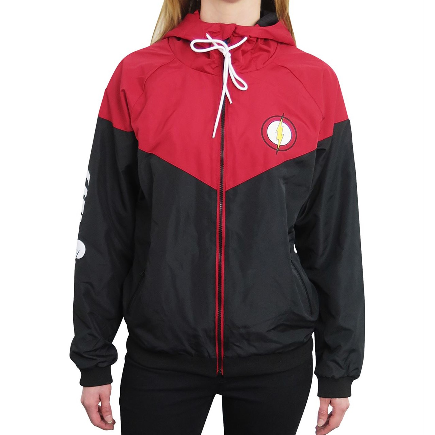 Flash Red  and  Black Women's Hooded Windbreaker
