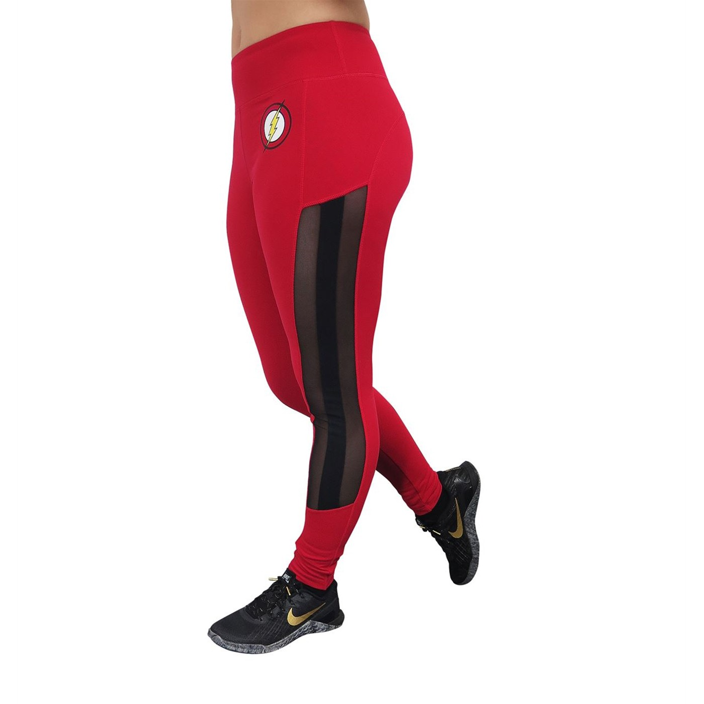 Flash Symbol Active Leggings with Mesh Sides