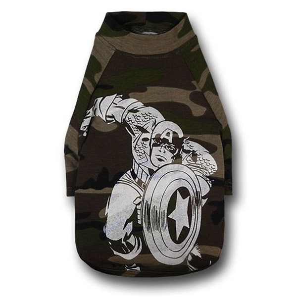 Captain America White Image Camo Dog T-Shirt