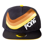 ATARI Retro Pong Wave Stripe Snapback Baseball Cap, Unisex, Black/Yellow