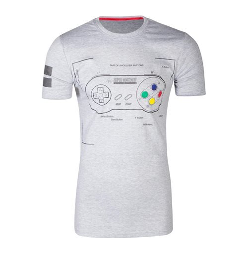 NINTENDO SNES Controller Super Power T-Shirt, Male, Medium, Grey