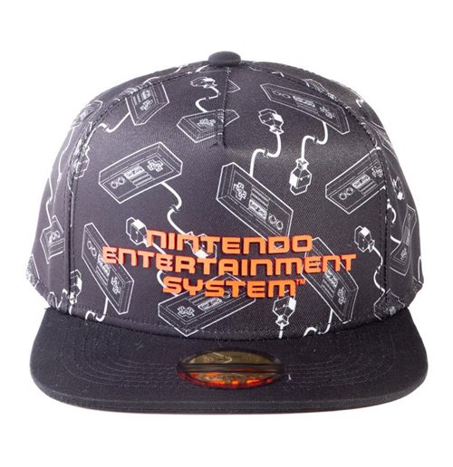 NINTENDO NES Controllers All-Over Print with Logo Snapback Baseball Cap, Unisex, Black