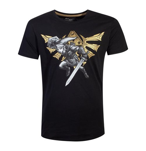 NINTENDO Legend of Zelda Hyrule Link T-Shirt, Male, Extra Large, Black