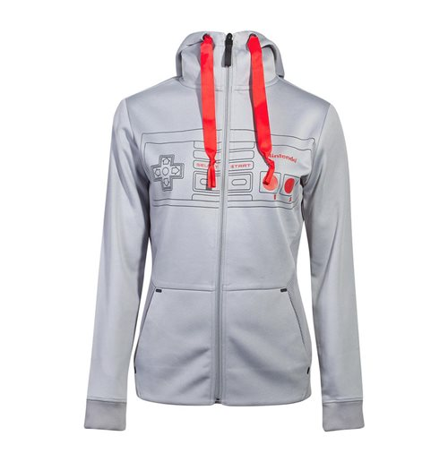 NINTENDO NES Controller Front Outline Zipper Full Length Hoodie, Female, Small, Grey