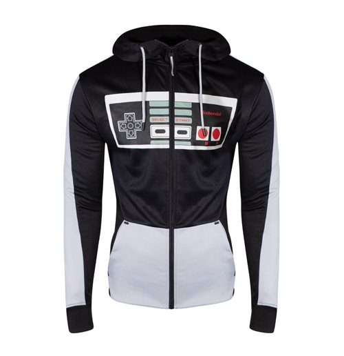 NINTENDO NES Controller Front Zipper Full Length Hoodie, Male, Large, Black/Grey