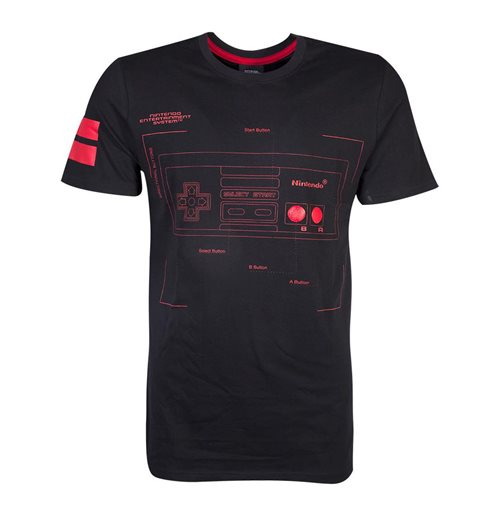 NINTENDO SNES Controller Super Power T-Shirt, Male, Small, Black/Red