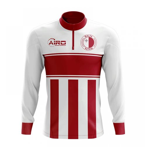 Malta Concept Football Half Zip Midlayer Top (White-Red)