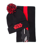 STAR WARS Darth Vader Lightsabre Bobble Beanie & Scarf Gift Set, Unisex, Black/Red (GS828808STW)