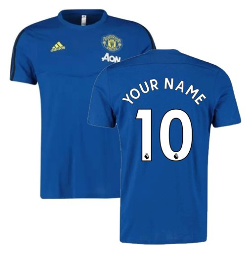 2019-2020 Man Utd Adidas Training Tee (Blue) (Your Name)
