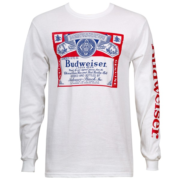 Budweiser Beer Label Men's White Long Sleeve Shirt