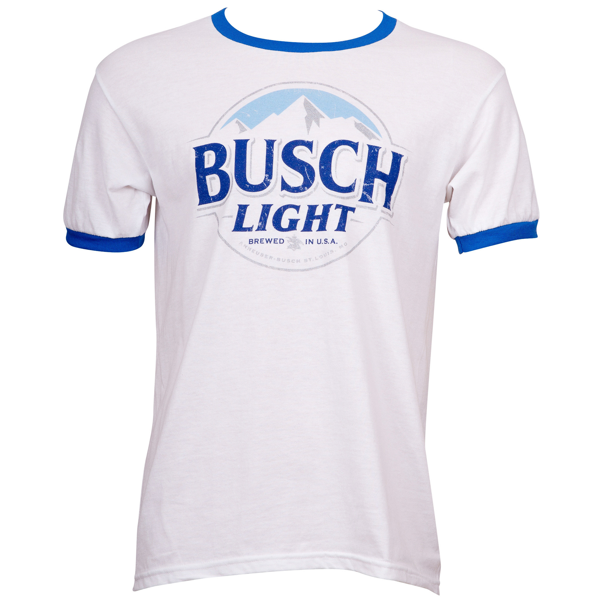 Busch Light Beer White And Blue Ringer T-Shirt