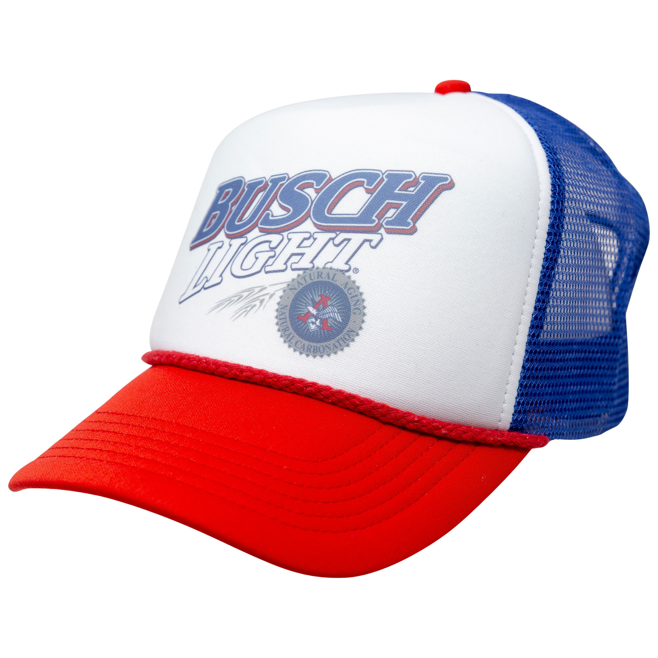 Busch Light Beer Logo Red, White, and Blue Adjustable Snapback Mesh Trucker Hat