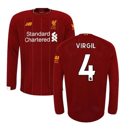 2019-2020 Liverpool Home Long Sleeve Shirt (Kids) (Virgil 4)