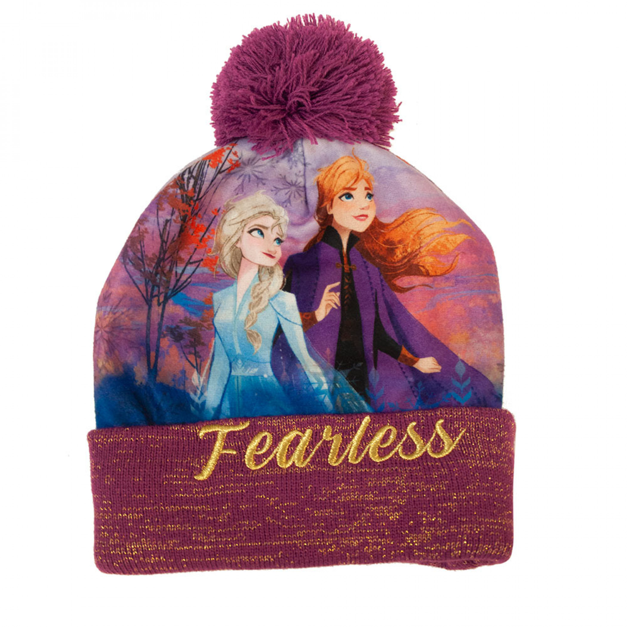 Frozen Fearless Purple Winter Pom Beanie