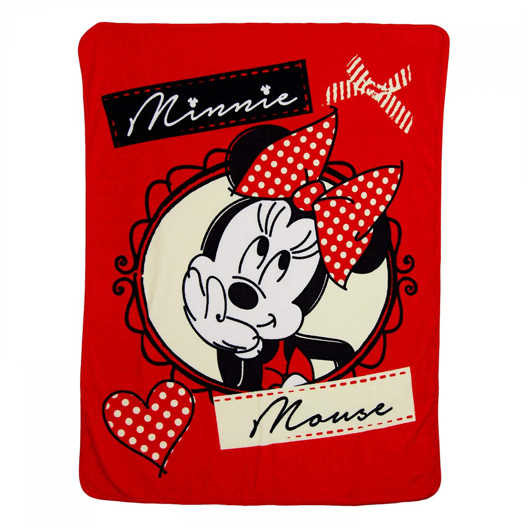 Minnie Mouse Bows Micro Raschel Throw Blanket