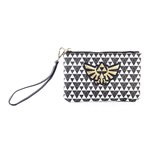 NINTENDO Legend of Zelda Hyrule Royal Crest with All-over Pattern Zipped Coin Purse, Female, Black/White