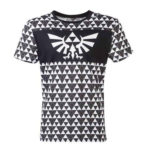 NINTENDO Legend of Zelda Royal Crest Logo with Tri-force Checker Pattern T-Shirt, Male, Extra Large, Black/White