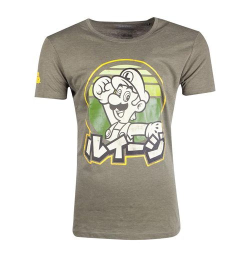 NINTENDO Super Mario Bros. Luigi T-Shirt, Male, Medium, Green