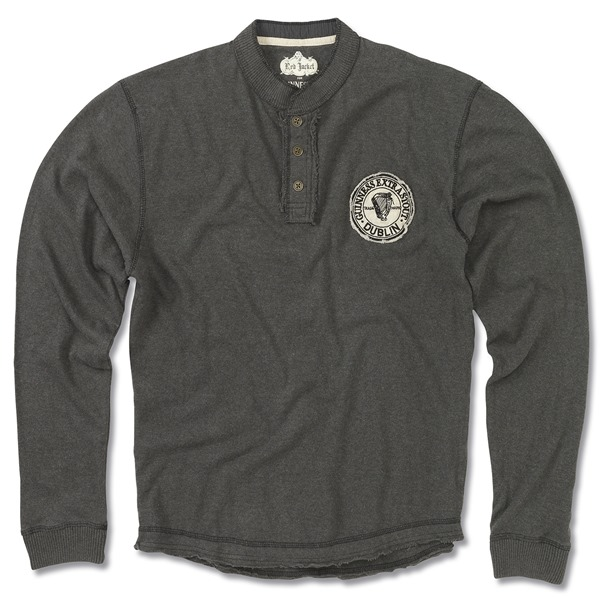 Guinness Men's Black Long Sleeve Henley