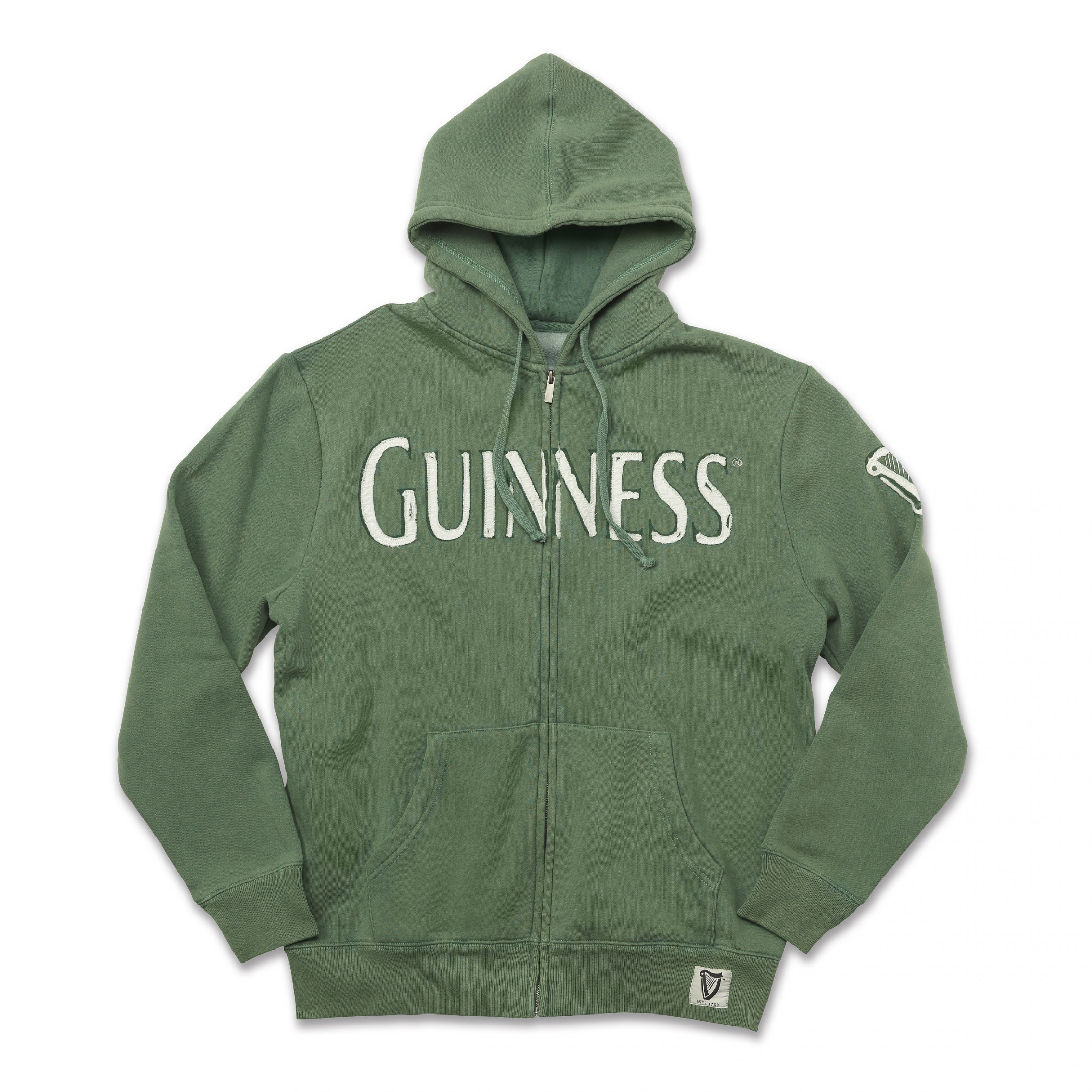 Guinness Stout Green Zip Up Hoodie
