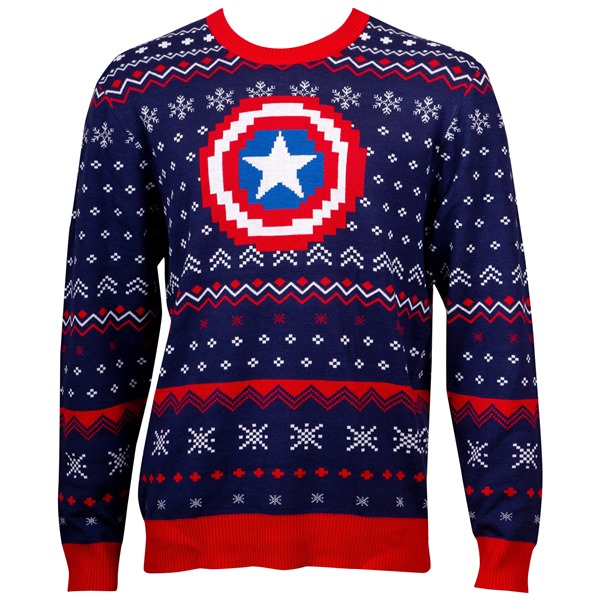 Captain America Patterned Ugly Holiday Sweater