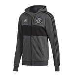2019-2020 Man Utd Adidas 3S Hooded Zip (Dark Grey)