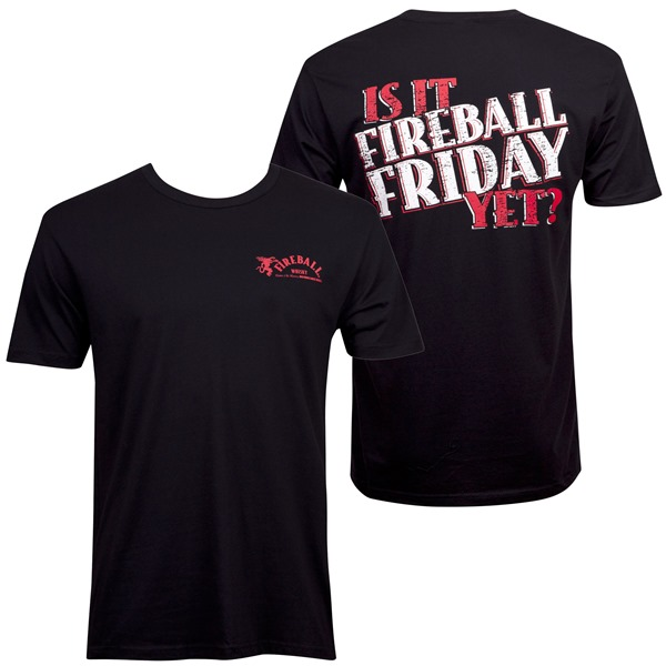 Fireball Cinnamon Whisky Is It Friday Men's Black T-Shirt