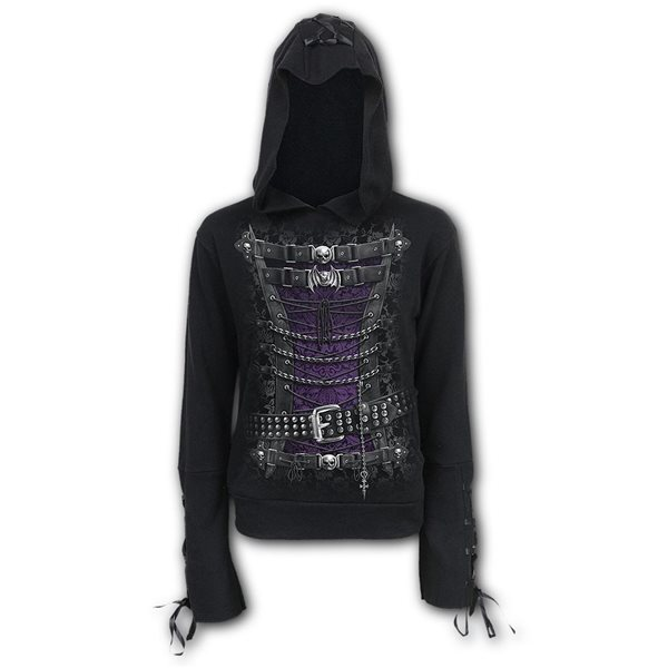 Waisted Corset - Black Ribbon Gothic Hoody Black (Plain)