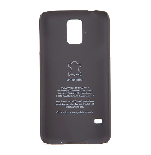 JACK DANIEL'S Logo Leather Phone Cover for Samsung S5, Black