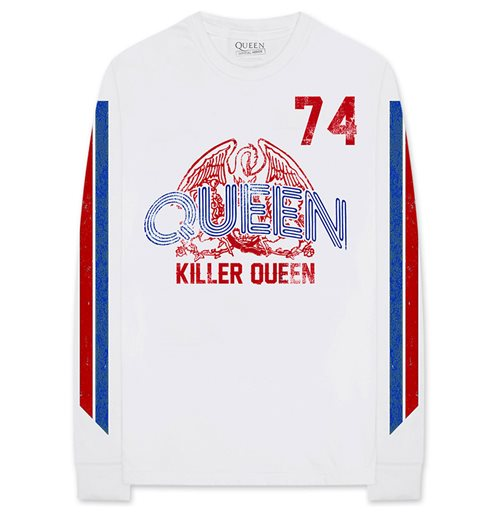 Queen Unisex Long Sleeve Tee: Killer Queen '74 Stripes (Arm Print)