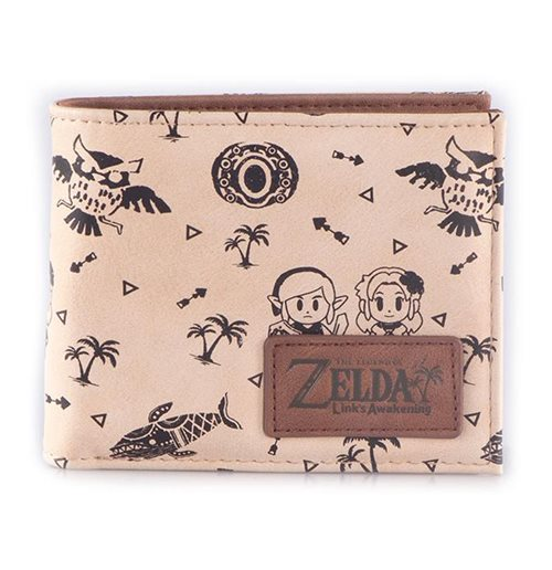 NINTENDO Legend of Zelda Link's Awakening All-over Print Bi-fold Wallet, Male, Tan/Brown