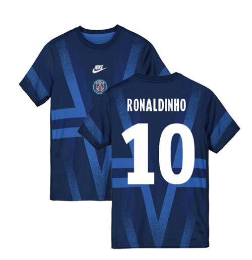 2019-2020 PSG Nike Pre-Match Training Shirt (Blue) (RONALDINHO 10)