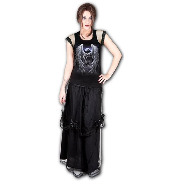 Inner Sorrow - Lace Shoulder Top Black (Plain)