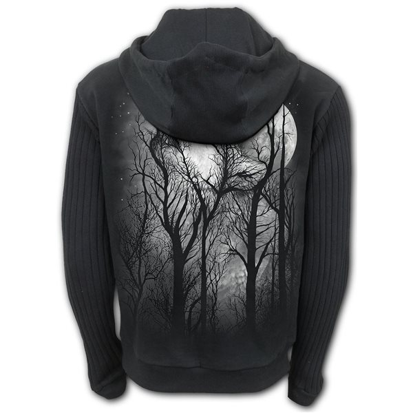Forest Wolf - Supa Ribbed Sleeve Hoody Black (Plain)