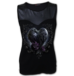 Raven Heart - Wet Look Top Black (Plain)