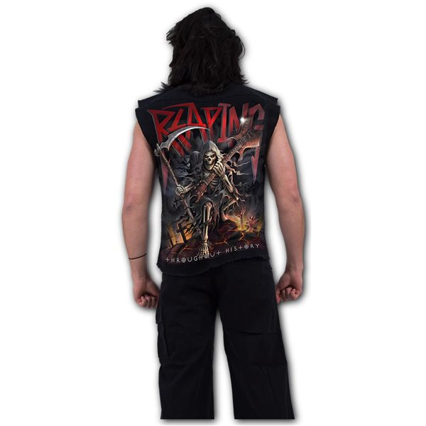 Reaping Tour - Sleeveless Stone Washed Worker Black (Plain)