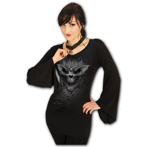 Bat Skull - V Neck Goth Sleeve Top Black (Plain)