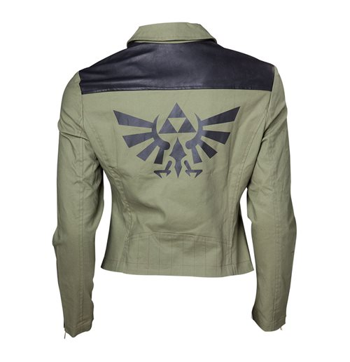 NINTENDO Legend of Zelda Royal Crest Logo Biker Jacket, Female, Medium, Green/Black
