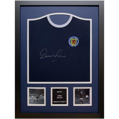 Scotland FA Denis Law Signed Shirt (Framed)