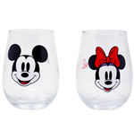 Mickey and Minnie Mouse Disney 2-Pack Stemless Wine Glass Set